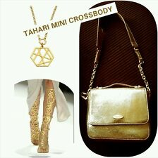 Tahari Gold Glitter Evening  Mini Cross Body Chain Evening Bag Purse
