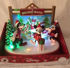 Mickey Minnie Mouse Animated Christmas Tabletop Light Music Holiday Magic Goofy