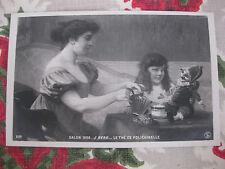 """CPA tableau Salon peinture 1906 Berg """"Le thé de Polichinelle"""""""