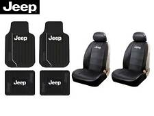 8 Pc Jeep Elite Mopar Seat Covers Synth Leather & Front & Rear Rubber Floor Mats
