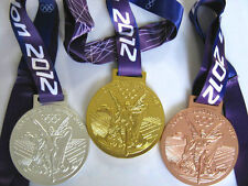 3 PCS Set Of 2012 London Olympic Medals Gold Silver Bronze Ribbon Souvenir 1:1
