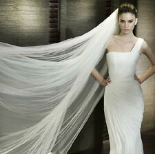 White 2 Tiers Cathedral Soft Tulle bridal veil for wedding With Comb