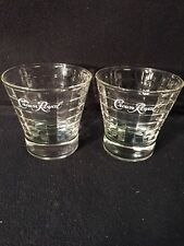 Set of (2) Crown Royal Whiskey Glass with Window Pane Etched Design MAN CAVE!!!!