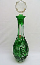 Vintage Nachtmann Emerald Green Cut to Clear Crystal Wine Decanter w/ Stopper