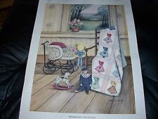 PICTURE PRINT OF YESTERDAY'S TREASURES SUNBONNET SUE QUILT, BABY CARRIAGE DOLL