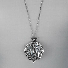 Long Antique Silver Chain Mermaid Sea Life Magnifying Glass Pendant Necklace