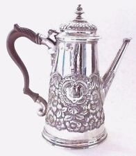 Coffee Pot Georgian Rococo Solid Sterling Silver William Darker London 1728