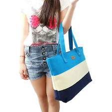 Women beach canvas bag fashion color stripes handbags ladies large shoulder bag