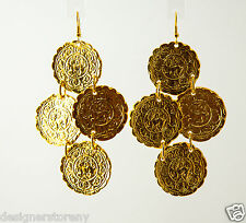 Kenneth Jay Lane gold 4 small satin coin drop wire earrings 7990ESG