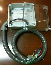Weatherproof Electrical Box Plastic Clear Lid 6x6x3 wiring harness and switch