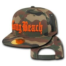 Camo & Orange Long Beach Vintage Retro Camouflage LBC Flat Bill Snapback Cap Hat