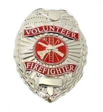 Volunteer Firefighter Badge Fireman Fire Nickel Plated Eagle Oval Scramble New