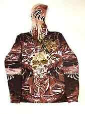 NEW MENS ED HARDY BY CHRISTIAN AUDIGIER BROWN ZIP-UP HOODIE SIZE EXTRA LARGE (XL