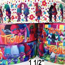 "5 yards mixed lot Grosgrain Ribbon 1.5""  - LES TROLLS  - L8 - B  Bulk WHOLESALE"
