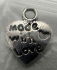 """heart made with love jewelry finding charm make necklace earrings 1/2"""""""