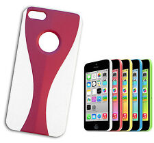 COVER FLIP COMPATIBLE IPHONE 5 PLASTIC BICOLOURED WINDOWED WHITE FUCHSIA  PINK