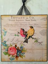 Tiffany & Co. Birds Roses Plaque #2 Wall Decor French Country Cottage New York