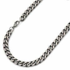 "8mm Titanium Men Women High Polished Curb 24"" Chain Necklace Link NEW"