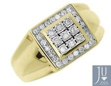 10k Yellow Gold Mens Round Diamond Square Top Fashion Wedding Ring 0.23 ct