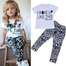 2PCS Toddler Kids Baby Girls Outfit Clothes T-shirt Tops+Long Pants Trousers Set
