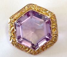Antique Ornate 9ct Gold & Faceted Amethyst Brooch Pin