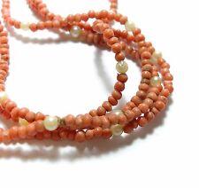 BELLISSIMO vecchio antico fine lungo Cinese Intagliata Corallo Perle & Collana di perle (a21)