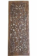 "Tropical Wood Carved Wall Decor Panel. Floral Wood Wall Art. Brown 35.5""x13.5"""