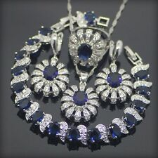 925 Sterling Silver Blue Created Sapphire Topaz beautiful Jewelry Sets