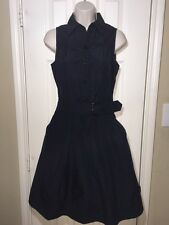 Armani Collezioni Black Metallic Sleeveless Button Front Shirt Dress Casual Sz 4