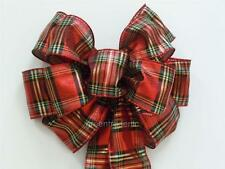 Handmade Red Green Plaids Christmas Holiday Gift Wrap Wreath Swag Decoration Bow