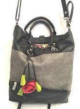 Espe Gray/Blk Shoulder Bag Purse W/ Red Rose Accent & Zipper Strap Floral Lining