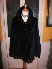 Ladies Gothic Black Velvet lace trim coat size 14