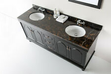 "New 72"" Solid Stone Marble Bathroom Double Vanity Sink / Cabinet + Faucets"