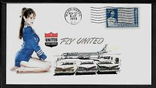 1950s United Airlines & Pin Up Girl Featured on Collector's Envelope *417