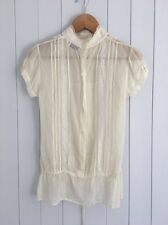 Warehouse Cream Sheer Delicate Silk Blouse UK size 8