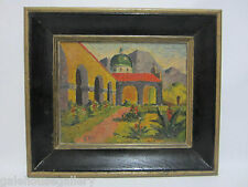 Vintage CALIFORNIA Oil Painting Mission Architecture Summer Signed E. OTT