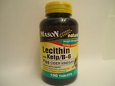 100 TABLETS LECITHIN KELP iodine B-6 CIDER VINEGAR Weight Loss Control