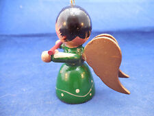 """GREEN WOODEN ANGEL WITH FLUTE VINTAGE 2 1/2"""""""