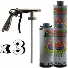 Pro Range 3 x 1 Litre Grey Stone Chip + Spray Gun Can be over Painted Paintable