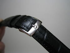 OMEGA 20MM BLACK LEATHER BAND STAINLESS STEEL SMALL LOGO BUCKLE