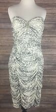 Torrid Sz 3 22/24 Strapless Tube Bandage Dress White Silver Glitter Animal Print