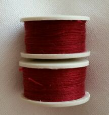 New 2 x 25m Each Burgundy Cotton Sewing Thread Bobbins For Sewing Machines.