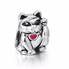 Lucky Cat 925 Sterling Silver European Bead DIY Animal Charms Fit Girl Bracelet