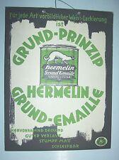 Altes Pappschild Hermelin Grund - Emaille Lack um 1935 dekorativ !