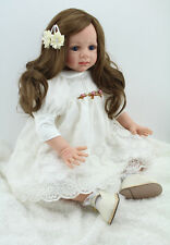 Reborn Toddler Baby Dolls 24'' Soft Vinyl Silicone Long Hair Doll Classic Kids