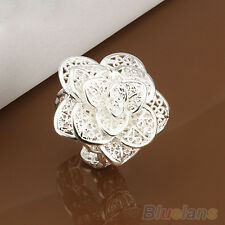 Vintage Royal Hollow Rose Flower Open Ring Solid Silver Plated Metal Band Ring