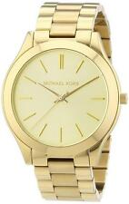 New Michael Kors Stainless Steel Gold Tone MK3179 Women's Slim Runway Watch
