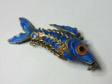 Vintage Chinese Brass Blue Enamel Articulated 'Wiggly' Fish Pendant for Necklace