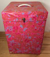 Vintage Carousel Wig Carrier Box Tote With Handle Pink Retro Mod Funky Hippie