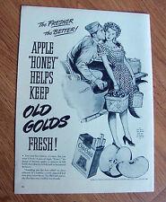 1944 Old Gold Cigarette Ad  Apple Honey Helps Keep Old Gold Fresh